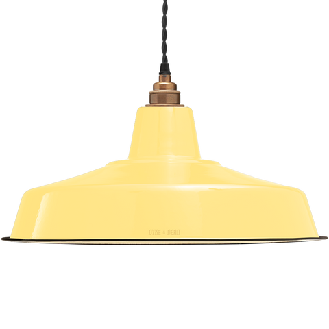 LARGE CUSTARD ENAMEL SHADE