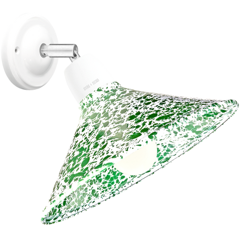 GREEN ENAMEL ELBOW WHITE CERAMIC LAMP