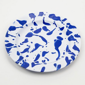 BLUE & WHITE SLIP ENAMELWARE DINNER PLATE