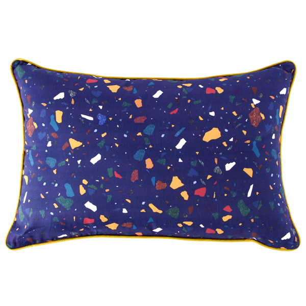 TERRAZZO CUSHION RECTANGLE BLUE