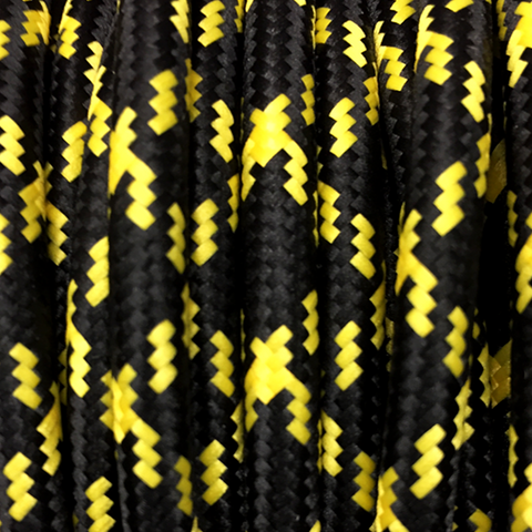 YELLOW & BLACK CROSS ROUND FABRIC CABLE