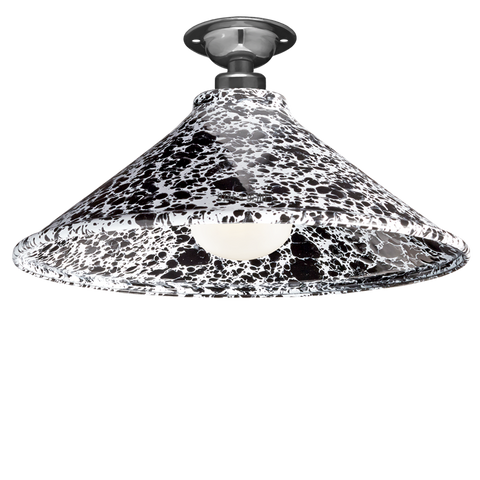 FIXED SPLATTERWARE BLACK ENAMEL CONE SHADE
