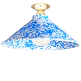 FIXED SPLATTERWARE BLUE ENAMEL CONE SHADE
