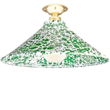 FIXED SPLATTERWARE GREEN ENAMEL CONE SHADE