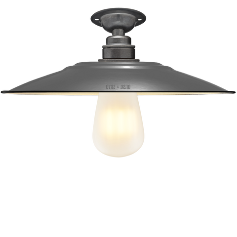 FIXED FLAT GREY ENAMEL SHADE