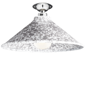 FIXED SPLATTERWARE GREY ENAMEL CONE SHADE