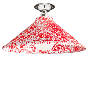 FIXED SPLATTERWARE RED ENAMEL CONE SHADE