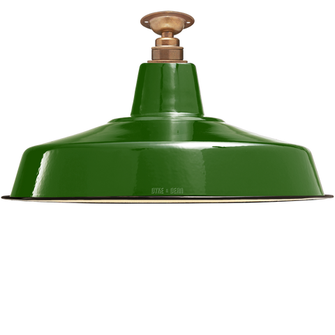 FIXED LARGE GREEN ENAMEL SHADE