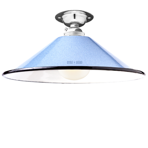 FIXED SMALL BLUE ENAMEL CONE SHADE