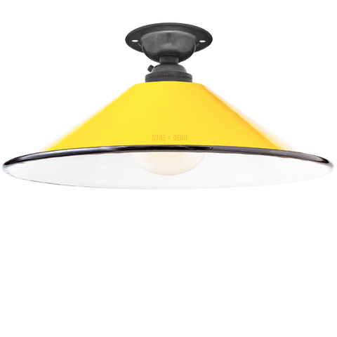 FIXED SMALL YELLOW ENAMEL CONE SHADE