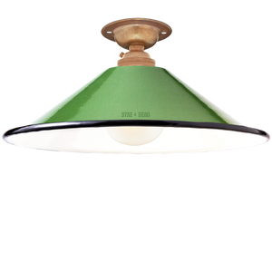 FIXED SMALL GREEN ENAMEL CONE SHADE - FIXED LAMPSHADES - DYKE & DEAN  - Homewares | Lighting | Modern Home Furnishings