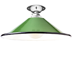 FIXED SMALL GREEN ENAMEL CONE SHADE