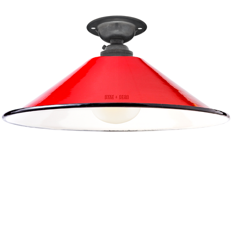 FIXED SMALL RED ENAMEL CONE SHADE