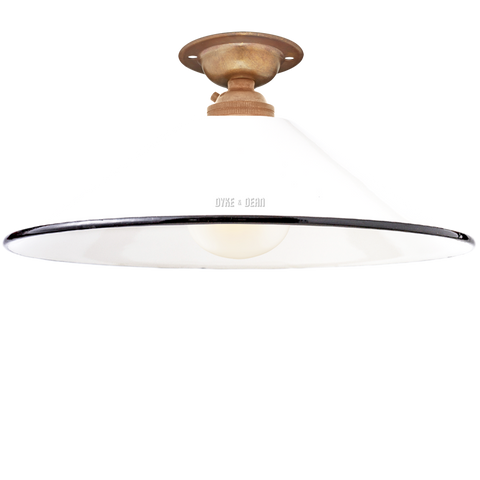 FIXED SMALL WHITE ENAMEL CONE SHADE
