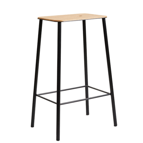 FRAMA ADAM STOOL - OAK TOP BLACK FRAME 650