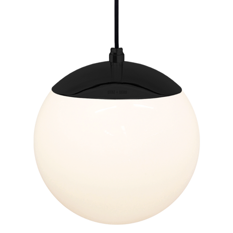 OPAL GLOBE PENDANT BLACK 200mm