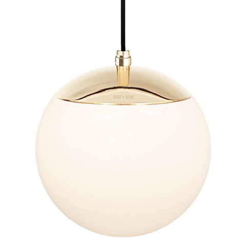 OPAL GLOBE PENDANT BRASS 200mm - GLASS PENDANTS - DYKE & DEAN  - Homewares | Lighting | Modern Home Furnishings