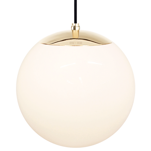 OPAL GLOBE PENDANT BRASS 300mm - GLASS PENDANTS - DYKE & DEAN  - Homewares | Lighting | Modern Home Furnishings