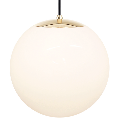 OPAL GLOBE PENDANT BRASS 400mm - GLASS PENDANTS - DYKE & DEAN  - Homewares | Lighting | Modern Home Furnishings
