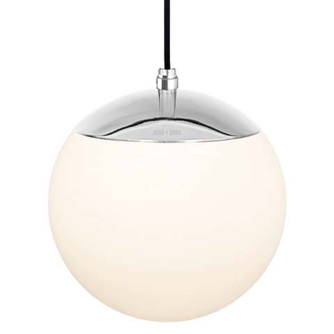 OPAL GLOBE PENDANT CHROME 200mm