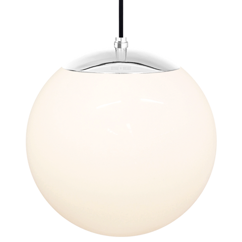 OPAL GLOBE PENDANT CHROME 300mm