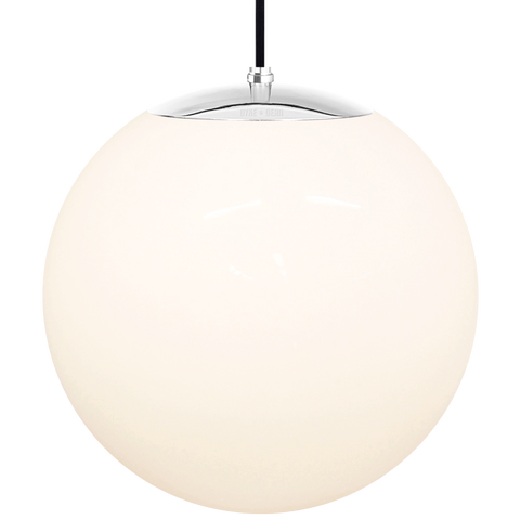 OPAL GLOBE PENDANT CHROME 400mm - GLASS PENDANTS - DYKE & DEAN  - Homewares | Lighting | Modern Home Furnishings
