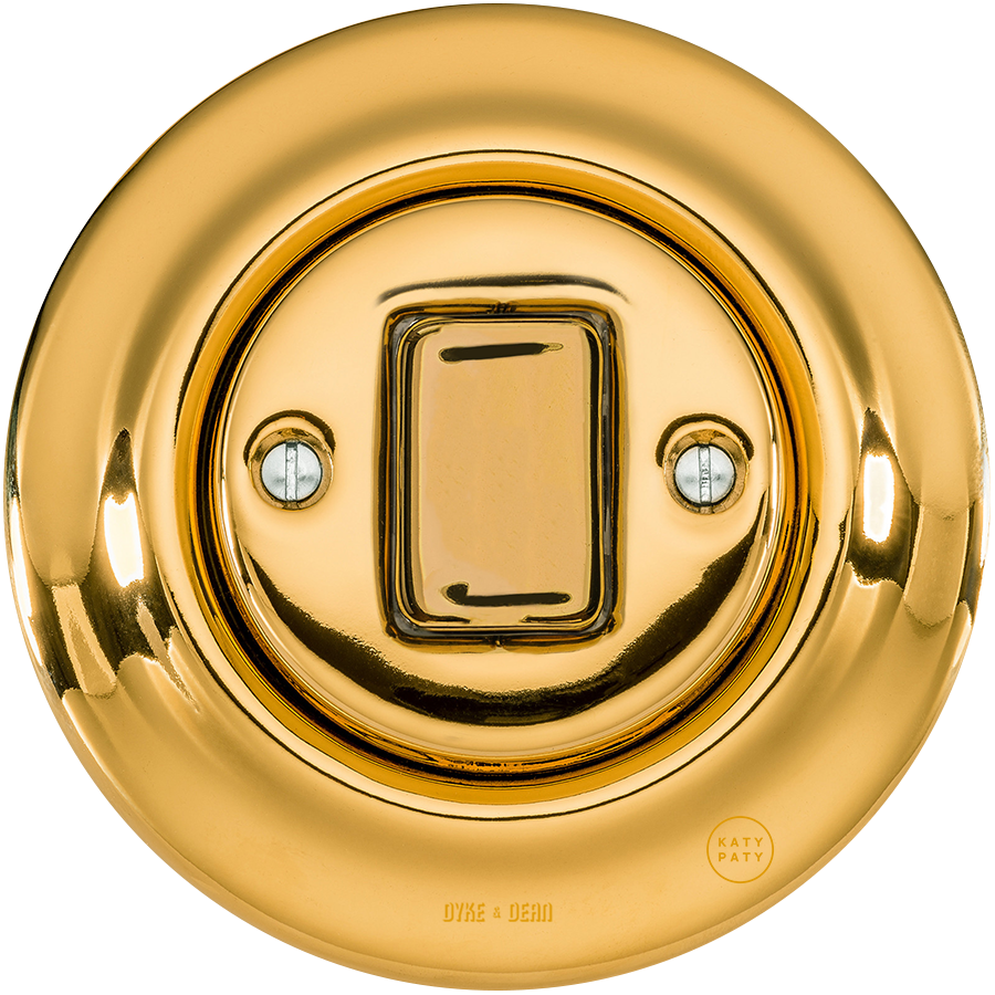PORCELAIN WALL SWITCH GOLD FAT BUTTON
