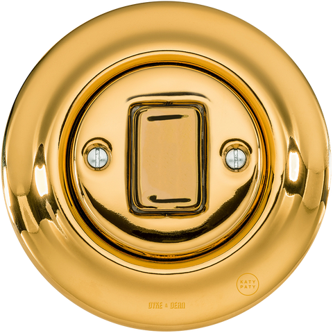 PORCELAIN WALL LIGHT SWITCH GOLD FAT BUTTON - PORCELAIN WALL SWITCHES - DYKE & DEAN  - Homewares | Lighting | Modern Home Furnishings