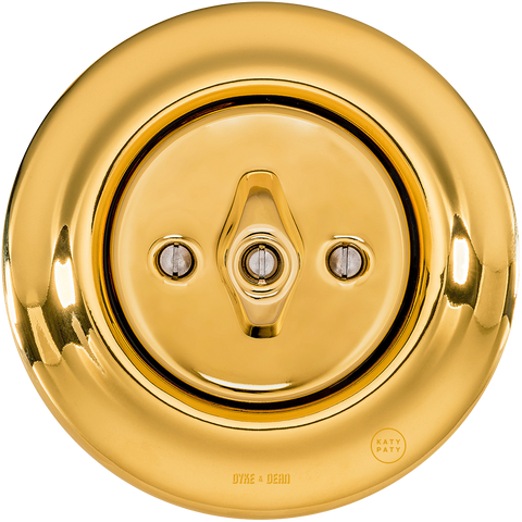 PORCELAIN WALL LIGHT SWITCH GOLD ROTARY - PORCELAIN WALL SWITCHES - DYKE & DEAN  - Homewares | Lighting | Modern Home Furnishings