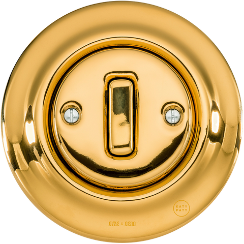 PORCELAIN WALL SWITCH GOLD SLIM BUTTON