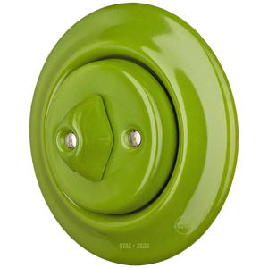 PORCELAIN WALL LIGHT SWITCH GREEN ROTARY