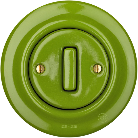 PORCELAIN WALL SWITCH GREEN SLIM BUTTON