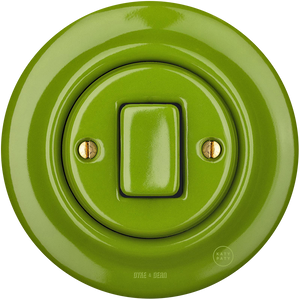 PORCELAIN WALL SWITCH GREEN FAT BUTTON
