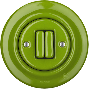 PORCELAIN WALL SWITCH GREEN DOUBLE