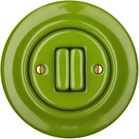 PORCELAIN WALL LIGHT SWITCH GREEN DOUBLE