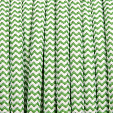 MINT GREEN ZIG ZAG ROUND FABRIC CABLE
