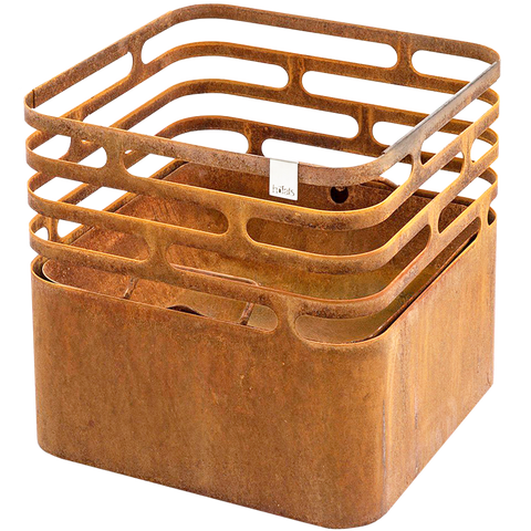 CUBE FIRE BASKET & GRILL RUSTY