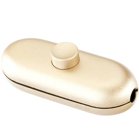 GOLD BUTTON INLINE CABLE LAMP SWITCH