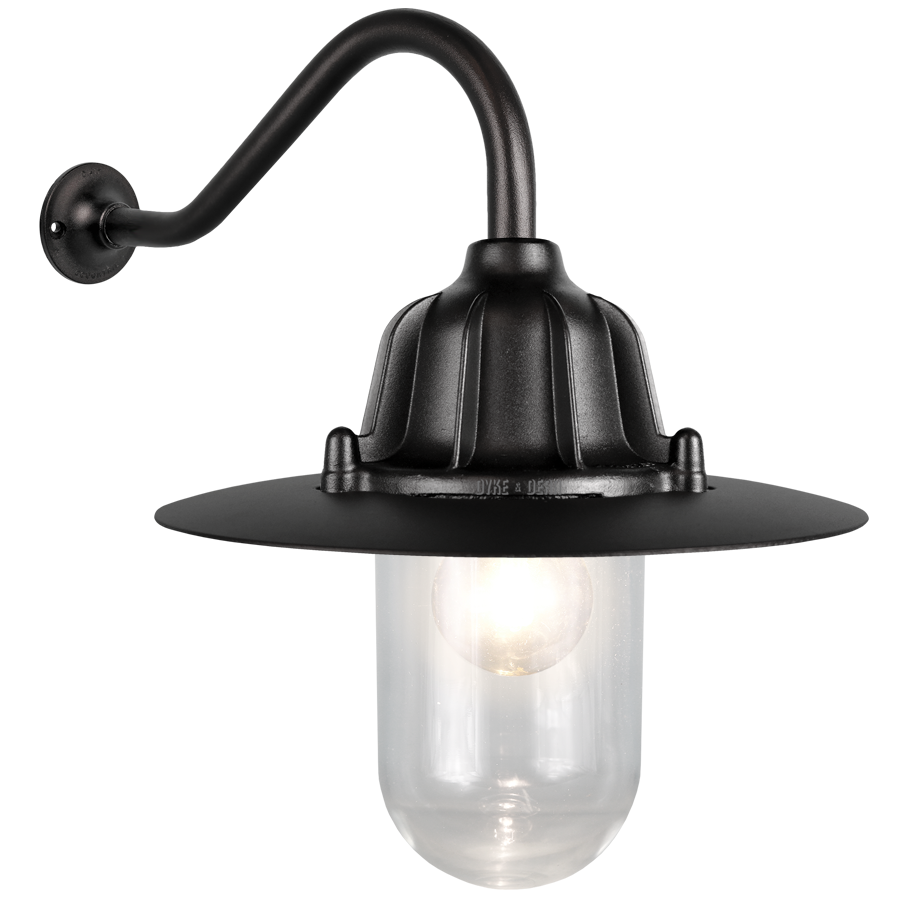 CAST SWAN NECK SHADED LANTERN BLACK