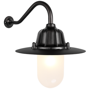 CAST SWAN NECK SHADED LANTERN FROSTED GLASS BLACK