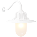 CAST SWAN NECK SHADED LANTERN FROSTED GLASS WHITE