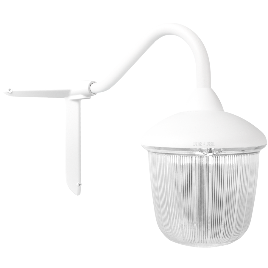 CORNER SWAN NECK LANTERN WHITE RIBBED CASE