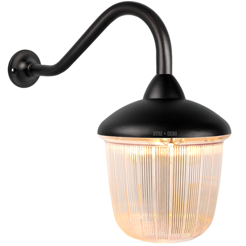 SWAN NECK LANTERN BLACK RIBBED CASE - BATHROOM / OUTDOOR LIGHTS - DYKE & DEAN  - Homewares | Lighting | Modern Home Furnishings