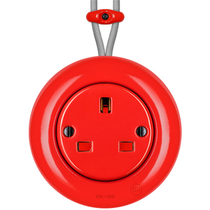 SURFACE PORCELAIN WALL SOCKET RED UK - PORCELAIN WALL SOCKETS - DYKE & DEAN  - Homewares | Lighting | Modern Home Furnishings