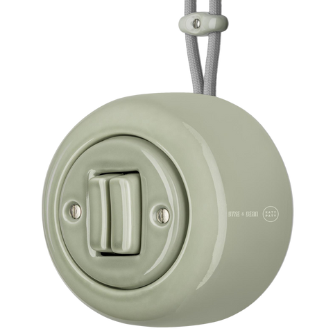 SURFACE PORCELAIN WALL LIGHT SWITCH GREY GREEN DOUBLE - PORCELAIN WALL SWITCHES - DYKE & DEAN  - Homewares | Lighting | Modern Home Furnishings