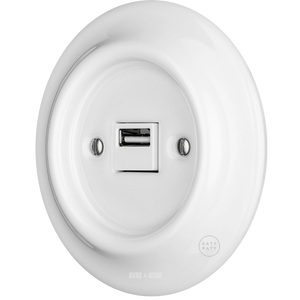 PORCELAIN WALL USB CHARGER WHITE - PORCELAIN WALL SOCKETS - DYKE & DEAN  - Homewares | Lighting | Modern Home Furnishings