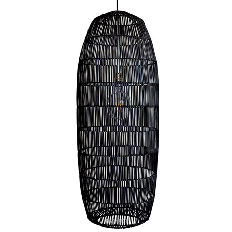 RATTAN PICKLE BLACK LARGE PENDANT