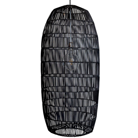 RATTAN PICKLE BLACK MEDIUM PENDANT