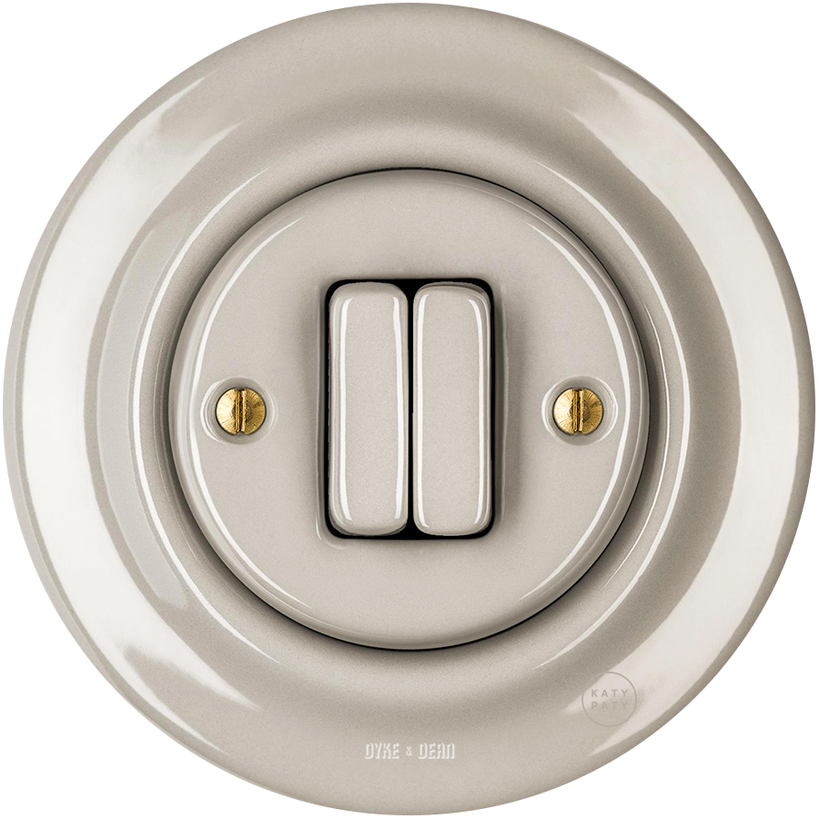 PORCELAIN WALL SWITCH CAPPUCCINO DOUBLE