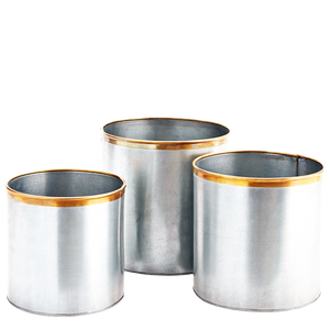 ZINC LARGE PLANT POTS WITH BRASS RIMS